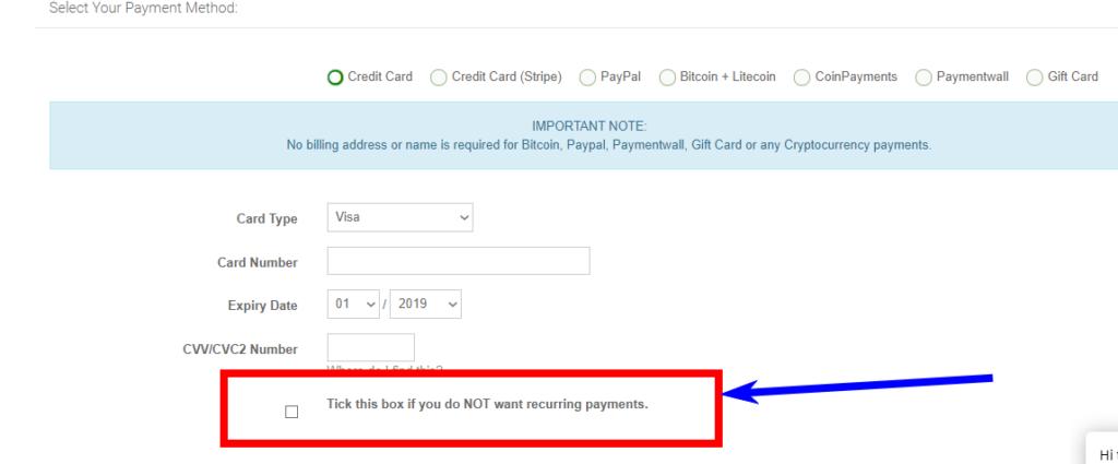 支払い時の契約終了後の契約自動更新の選択