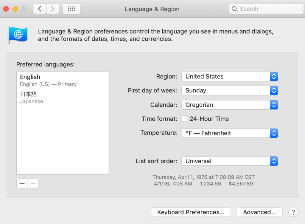 Macのシステム環境設定で言語を日本語からEnglishにする方法