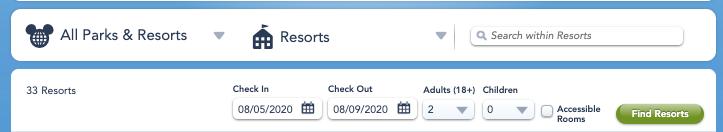 2. チェックイン・チェックアウト日程・人数を入れて「find resorts」